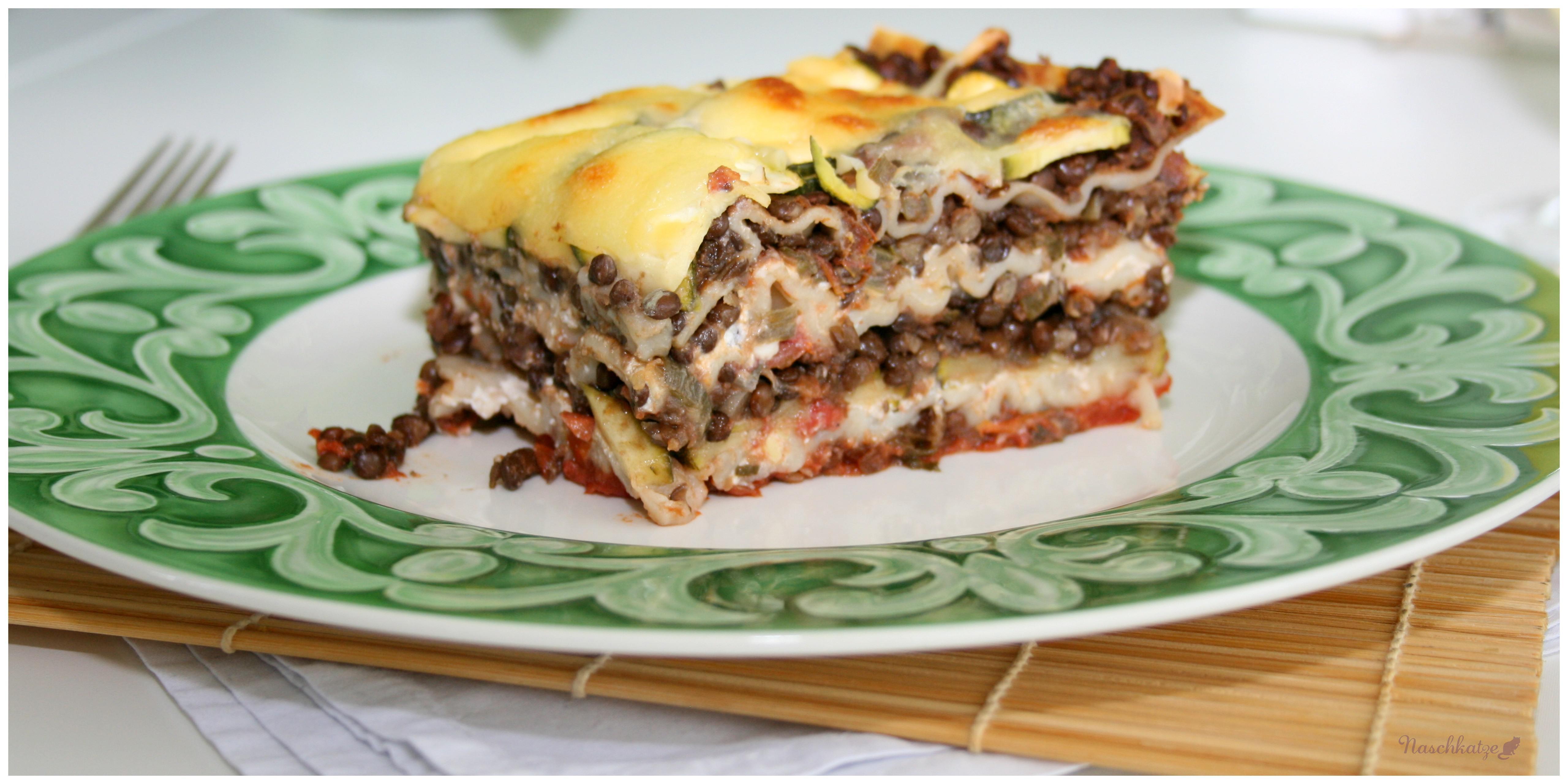 da fehlt kein fleisch vegetarische lasagne mit belugalinsen zucchini und ricotta naschkatze. Black Bedroom Furniture Sets. Home Design Ideas