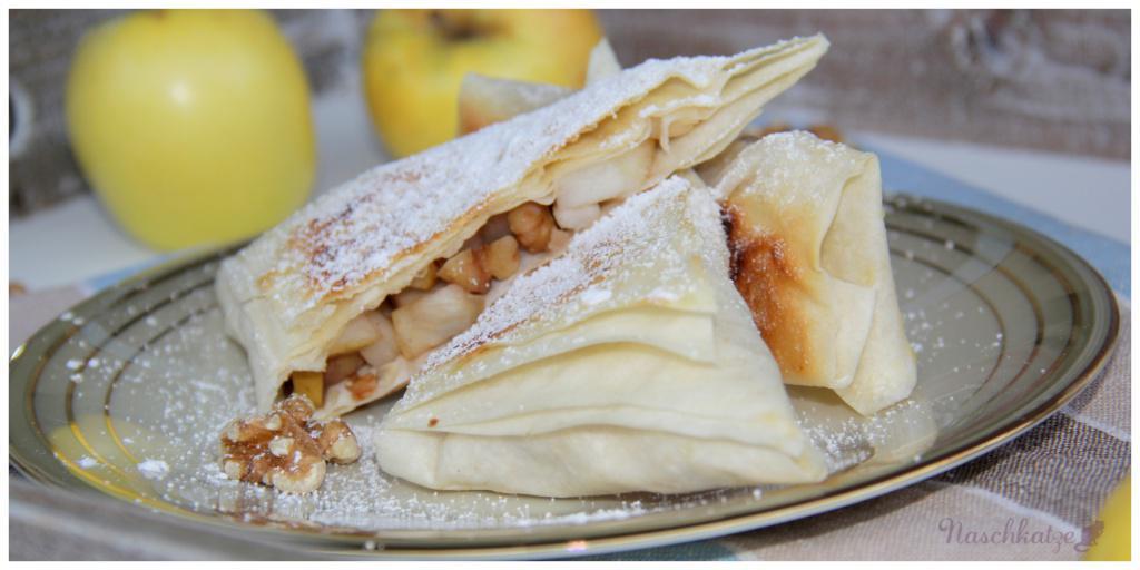 Schnelle vegane Mini-Apfelstrudel aus Filoteig mit Vanillesauce (4)