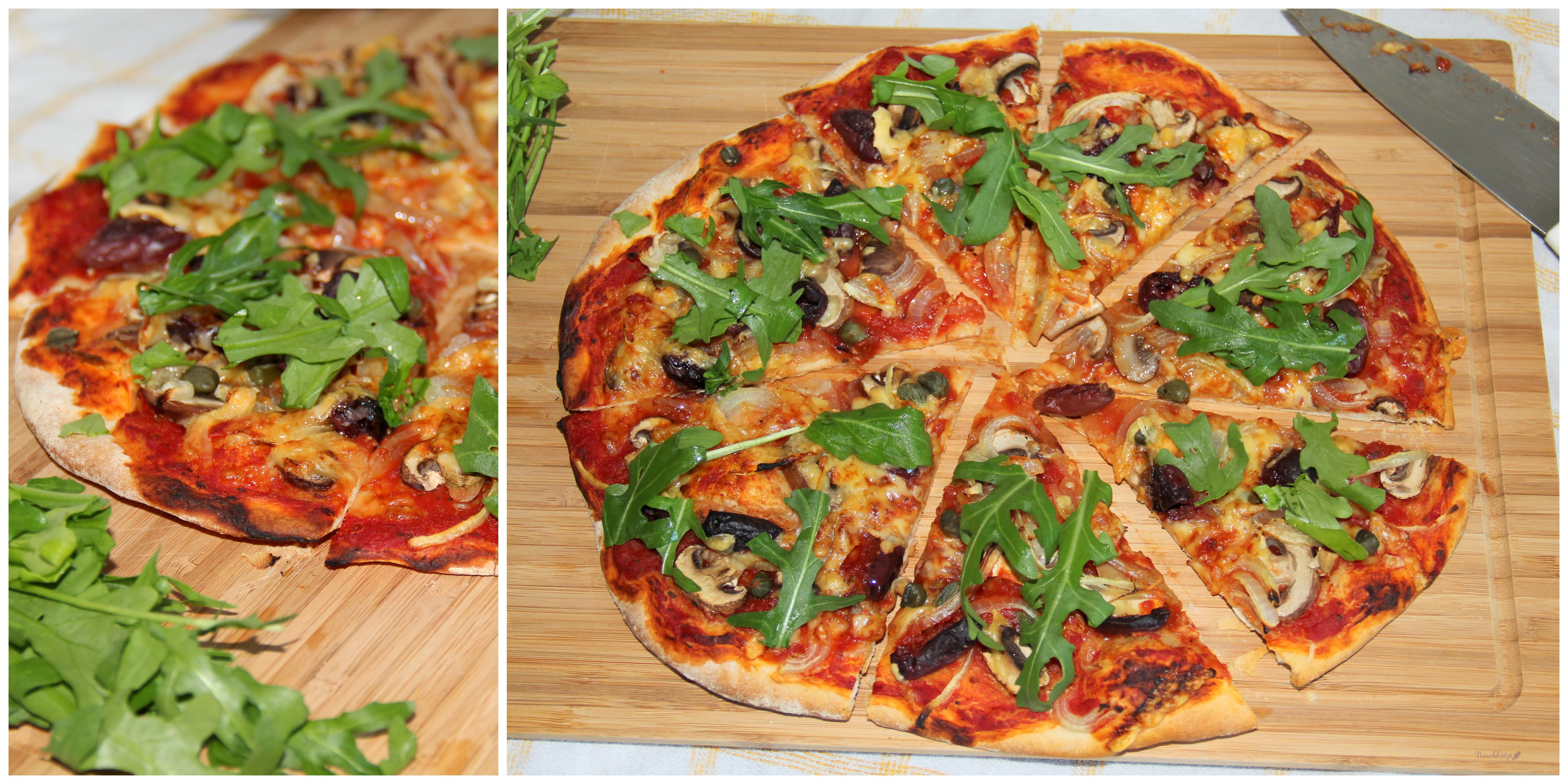 pizza mit champignons zwiebeln oliven kapern und rucola naschkatze. Black Bedroom Furniture Sets. Home Design Ideas
