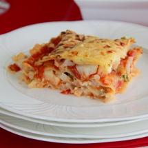Vegetarische Lasagne mit Blumenkohlhack & Hüttenkäse