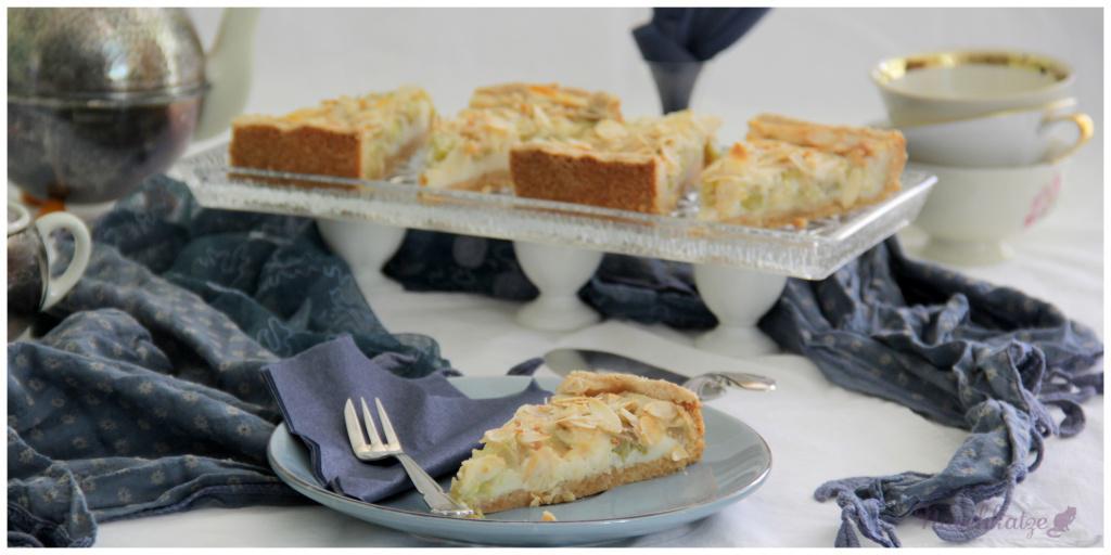 Rhabarberkuchen mit Guss und Mandeldecke_vegan
