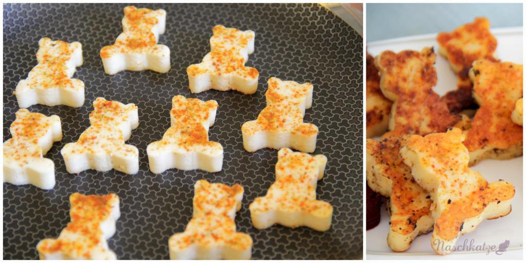 Rosa Knusperkugeln, Glücksgemüse, Käsebärchen und Gurkensalat6