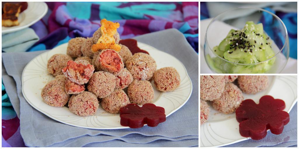 Rosa Knusperkugeln, Glücksgemüse, Käsebärchen und Gurkensalat7
