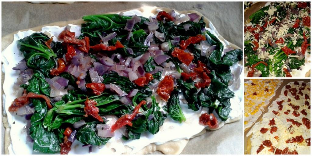 Flammkuchen mit Spinat, vegan
