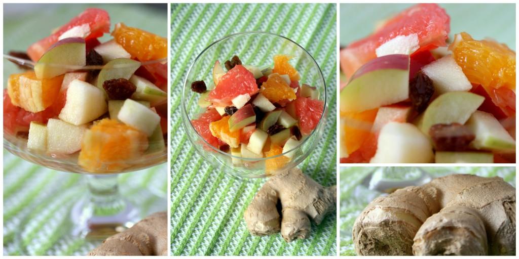 Herb-süßer Obstsalat mit Rosinen und einem Hauch Ingwer