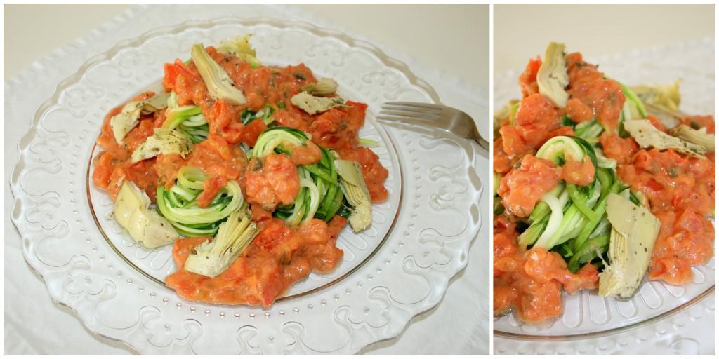 Zucchininudeln mit Tomaten-Mandelcreme und Artischocken1