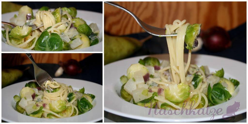 Rosenkohl-Birnen-Pasta mit Gorgonzola1