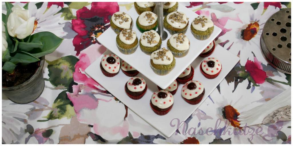 Cupcakes mit Matcha & Schoko- Amarena und Vanilletopping