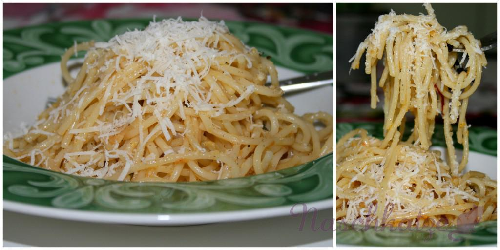 Parmesan- Spaghetti in Zitronen-Knoblauch-Chili-Öl