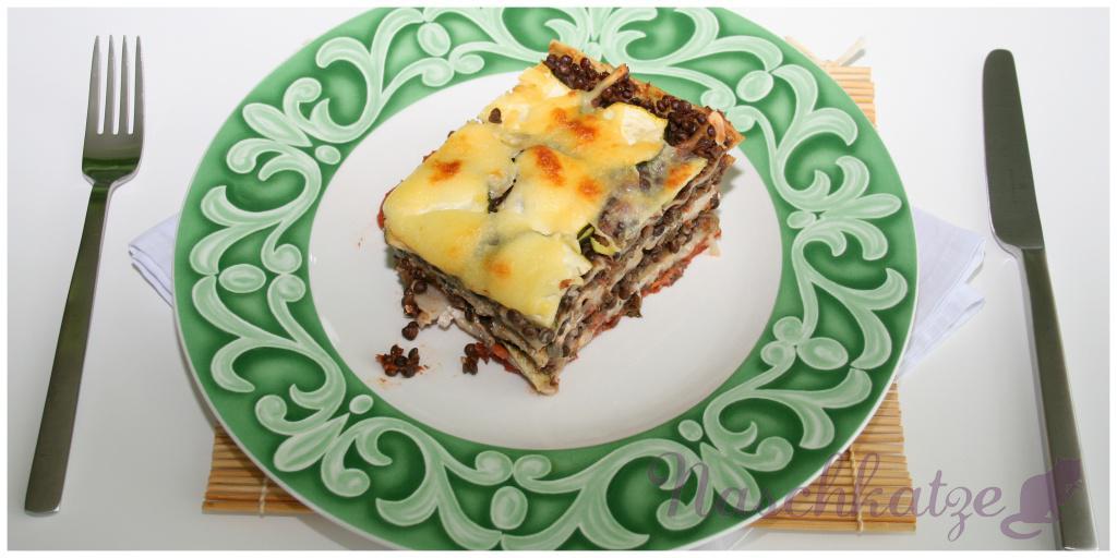 Lasagne mit Belugalinsen, Zucchini und Ricotta