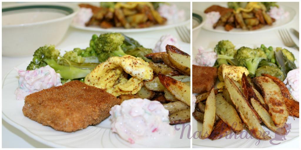 Tofuschnitzeln, würzige Backofen- Fritten, grünes Gemüse & Soyade- Dipp mi