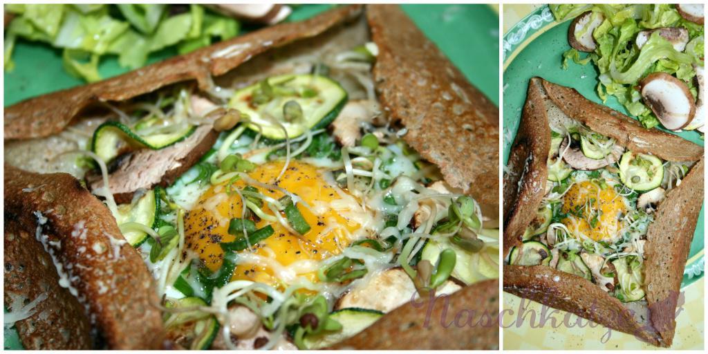 Galettes mit Käse, Ei, Gemüse & Sprossen (2)