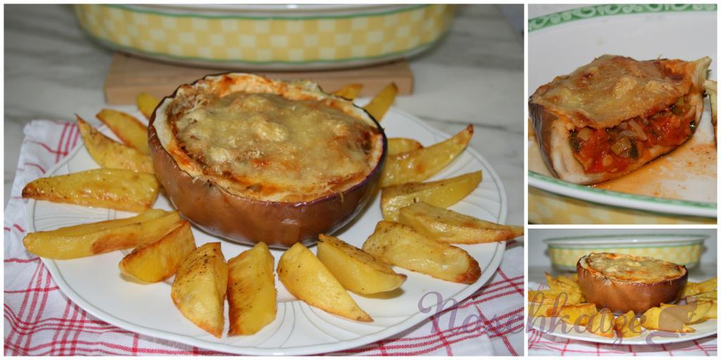 Gefüllte Aubergine mit Harissa und Kartoffelecken