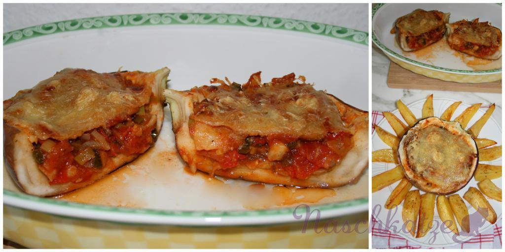 Gefüllte Aubergine mit Harissa und Kartoffelecken1