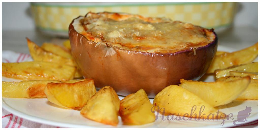 Gefüllte Aubergine mit Harissa und Kartoffelecken2