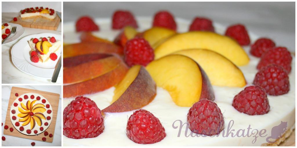 Kühlschrankkuchen mit Soyade, Pfirsich & Himbeeren2