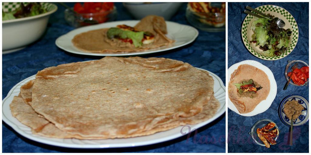 Wraps mit selbstgemachter Tortilla, Auberginenmus und Halloumi