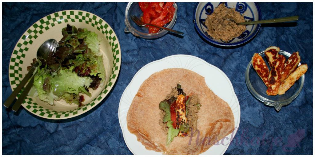 Wraps mit selbstgemachter Tortilla, Auberginenmus und Hallumi1