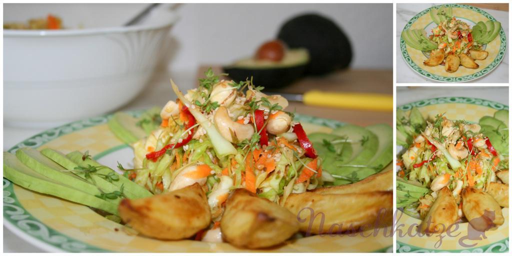 asiatischer Weißkrautsalat mit Cashews, Sesam und Chili1