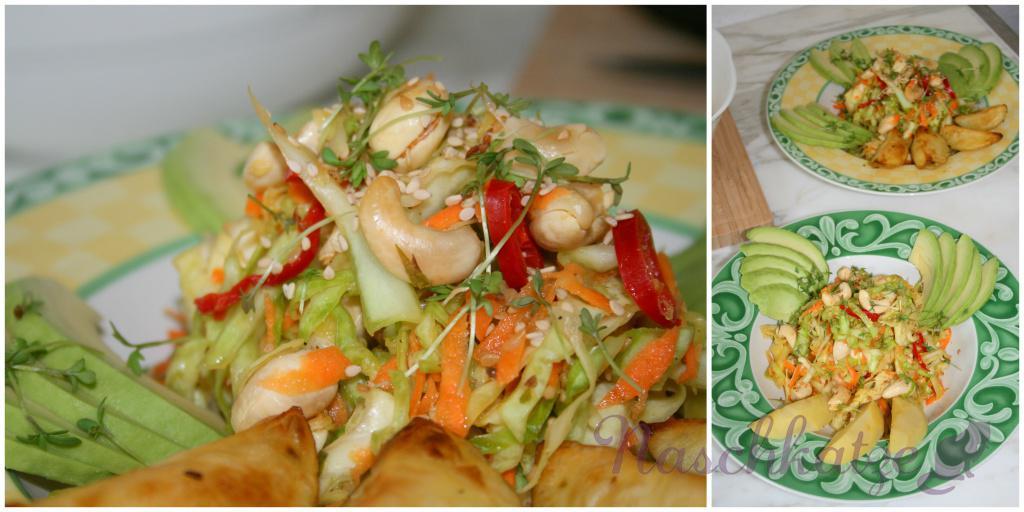 asiatischer Weißkrautsalat mit Cashews, Sesam und Chili3