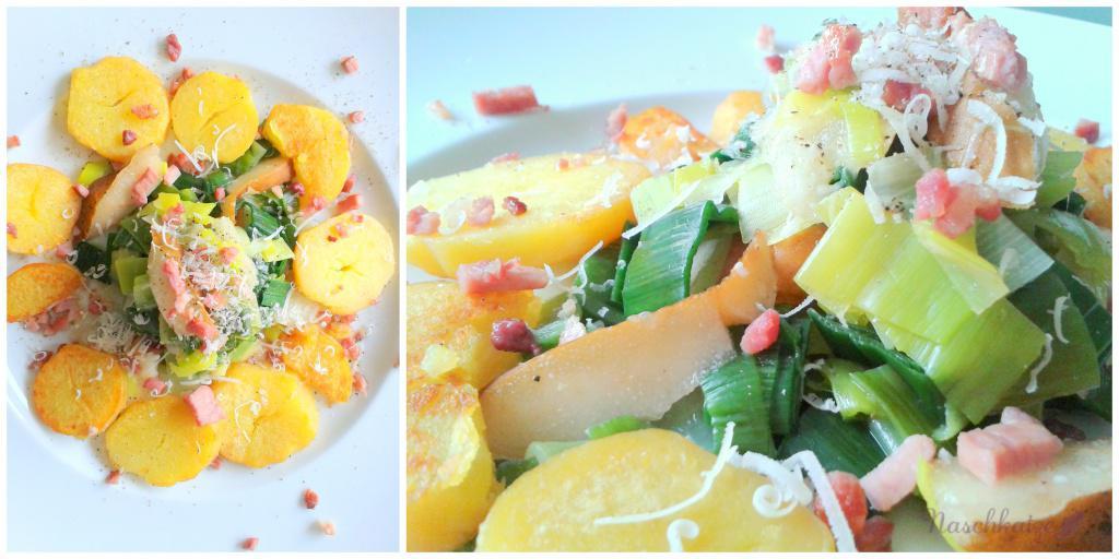 Bratkartoffeln mit Birnen-Lacuh-Gemüse und Speck (1)