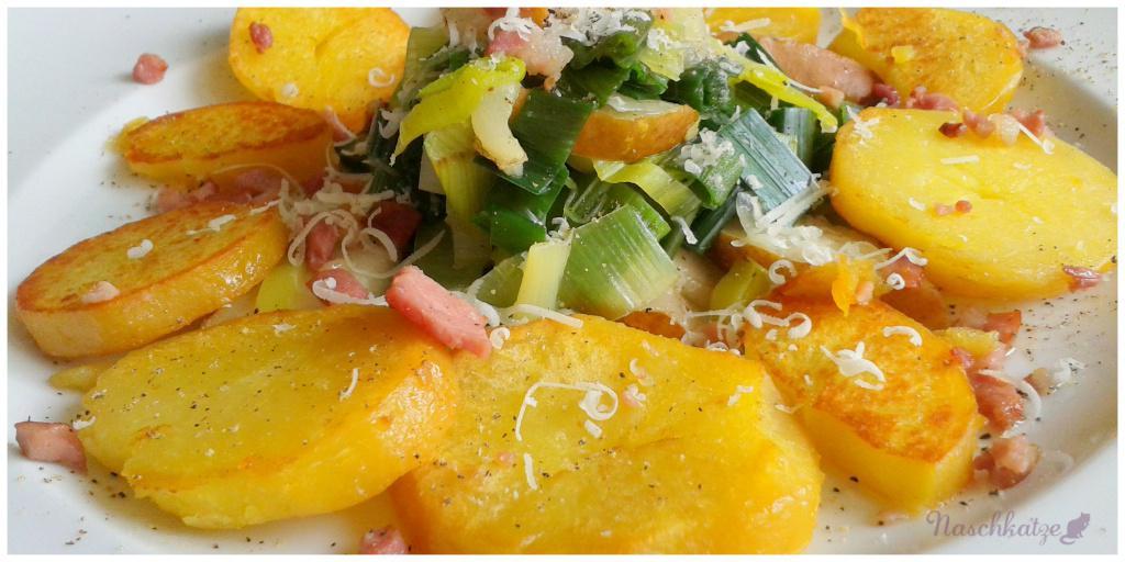 Bratkartoffeln mit Birnen-Lacuh-Gemüse und Speck (2)