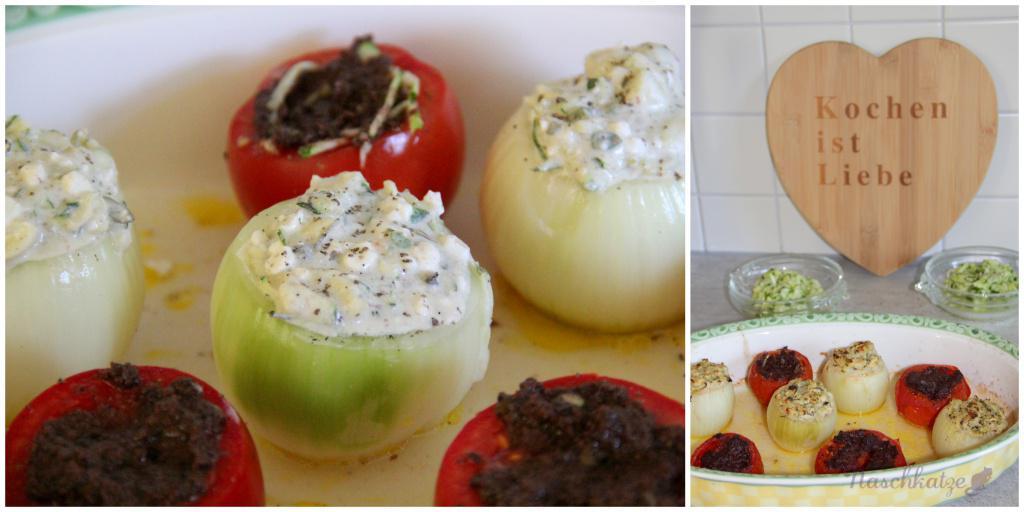 Gefüllte Zwiebeln mit Ofentomaten und Rotwein-Zwiebel-Mousse