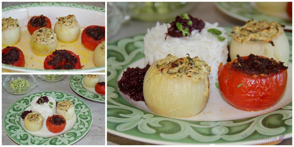 Gefüllte Zwiebeln mit Ofentomaten und Rotwein-Zwiebel-Mousse1