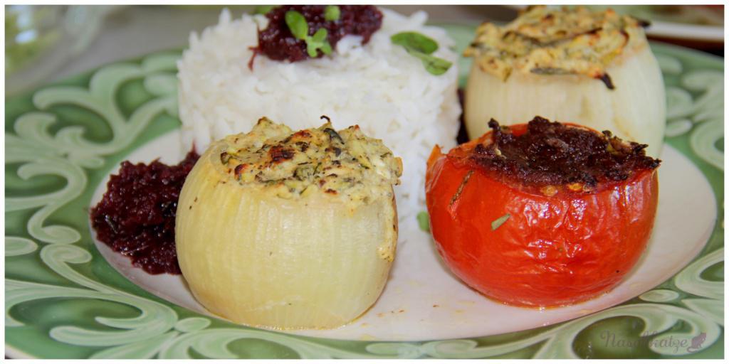 Gefüllte Zwiebeln mit Ofentomaten und Rotwein-Zwiebel-Mousse2