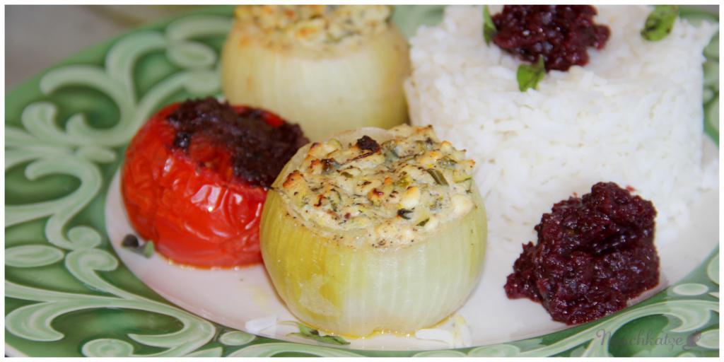 Gefüllte Zwiebeln mit Ofentomaten und Rotwein-Zwiebel-Mousse3
