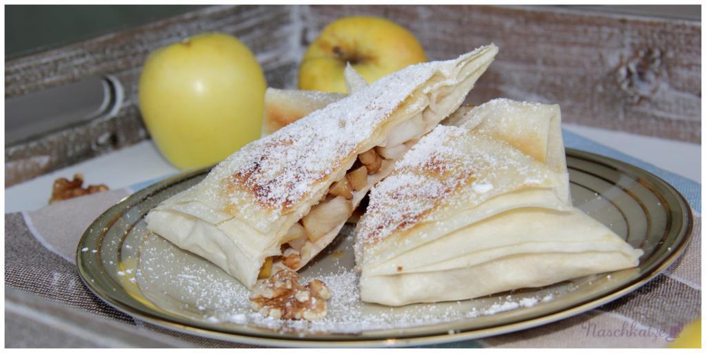 Schnelle vegane Mini-Apfelstrudel aus Filoteig mit Vanillesauce (1)