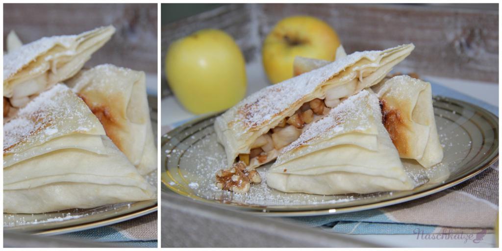 Schnelle vegane Mini-Apfelstrudel aus Filoteig mit Vanillesauce (3)