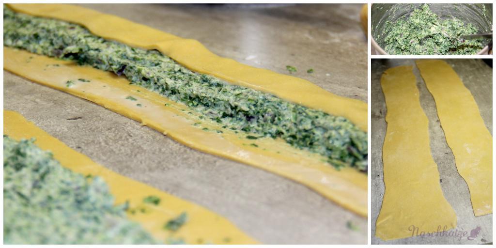 Maultaschen mit Spinat-Ricotta & Kürbis-Honig-Soße