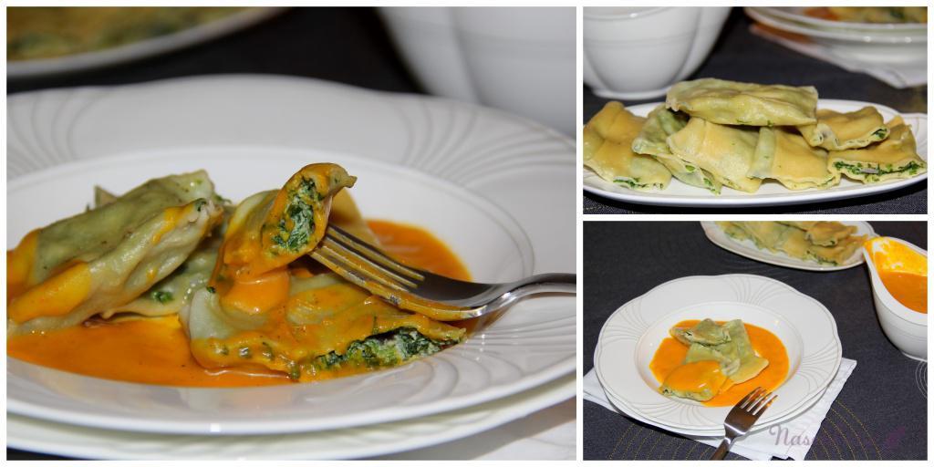 Maultaschen mit Spinat-Ricotta & Kürbis-Honig-Soße4