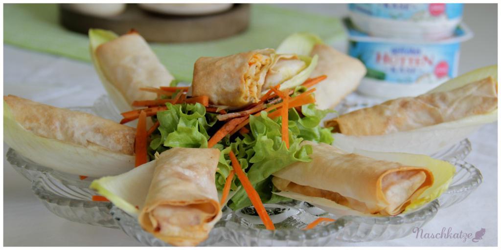 Hüttenkäse-Röllchen mit Filoteig und Salat1