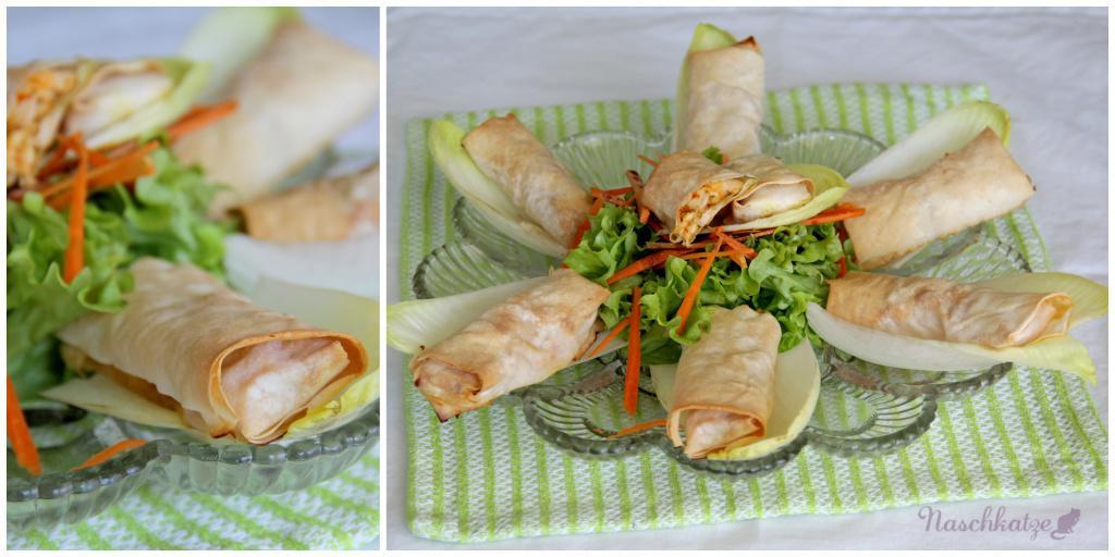Hüttenkäse-Röllchen mit Filoteig und Salat2