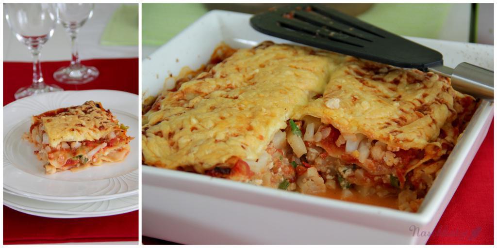 Lasagne mit Blumenkohlhack und Hüttenkäse