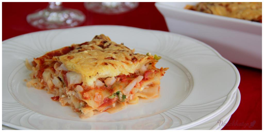 Lasagne mit Blumenkohlhack und Hüttenkäse3