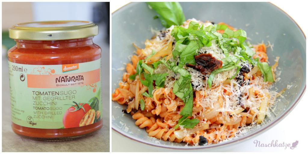 Naturata-Vollkornnudeln mit Tomatensoße, Getr.Tomaten, Zwiebeln, Basilikum u Käse (2)