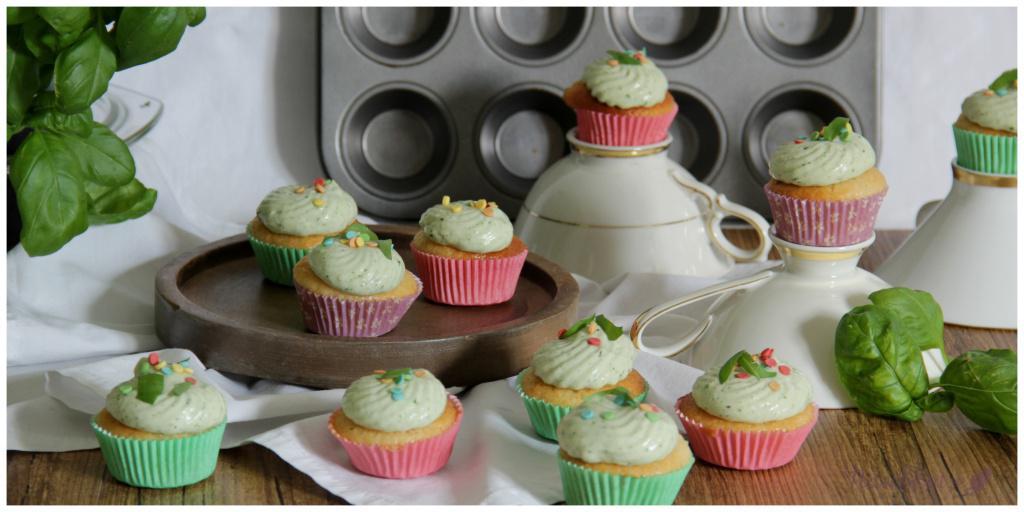 Zitronencupcakes mit Basilikumcreme_vegan