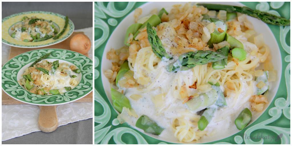 Pasta mit grünem Spargel, gebratenen Zwiebeln und