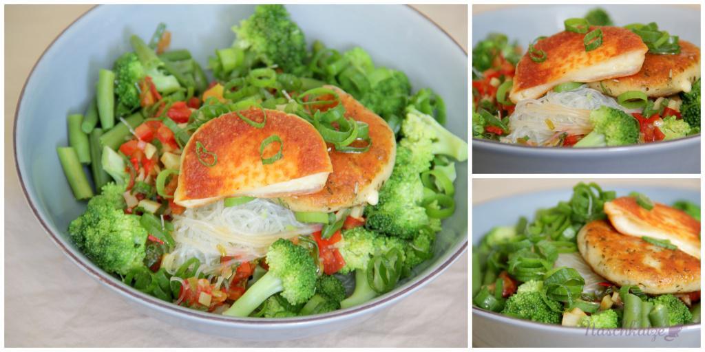 Grüne Lunchbowl mit Glasnudeln und Grillkäse