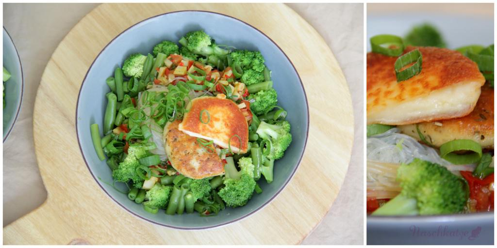 Grüne Lunchbowl mit Glasnudeln und Grillkäse2